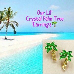 Crystal Palm Tree Earrings, NWT